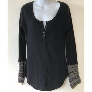 Free People Tops - Free People Large Thermal Henley Kombucha Cuff Top